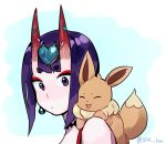 1girl :d bangs blue_background closed_eyes closed_mouth commentary_request creatures_(company) crossover earrings eevee eyebrows_visible_through_hair eyeshadow facing_viewer fate/grand_order fate_(series) from_side game_freak gen_1_pokemon horns idk-kun jewelry makeup nintendo oni open_mouth pokemon pokemon_(creature) purple_hair seiyuu_connection short_eyebrows short_hair shuten_douji_(fate/grand_order) smile thick_eyebrows twitter_username violet_eyes yuuki_aoi