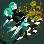 2others androgynous belt black_footwear black_neckwear broken collared_shirt commentary_request crystal_hair flower_(symbol) gem_uniform_(houseki_no_kuni) golden_arms green_background green_eyes green_hair high_heels houseki_no_kuni looking_at_viewer missing_limb multiple_others phosphophyllite shards shiny shiny_hair shirt short_hair short_shorts short_sleeves shorts simple_background snk_rnk spoilers striped white_belt