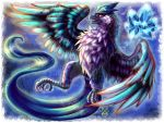 articuno bird blue claws commentary commission creatures_(company) english_commentary flying full_body game_freak gen_1_pokemon ice nintendo no_humans pokemon rabenfeder realistic watermark web_address yellow_eyes