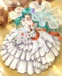 1girl :d blush bouquet breasts bridal_veil bride cleavage commentary_request dress eirika elbow_gloves fire_emblem fire_emblem:_kakusei fire_emblem:_seima_no_kouseki flower frilled_dress frills from_above gloves hair_flower hair_ornament highres holding holding_bouquet long_dress looking_at_viewer looking_up medium_breasts nintendo open_mouth smile solo strapless strapless_dress veil wedding_dress white_dress white_gloves yuino_(fancy_party)