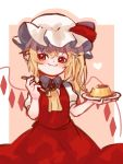 1girl :t ascot bangs blonde_hair blush border brooch brown_background commentary cowboy_shot crystal english_commentary fang_out flandre_scarlet food hair_between_eyes hat hat_ribbon head_tilt highres holding holding_plate holding_spoon jewelry long_hair looking_at_viewer mob_cap one_side_up outside_border plate pointy_ears pudding puffy_short_sleeves puffy_sleeves red_eyes red_ribbon red_skirt red_vest ribbon shirt short_sleeves simple_background sketch skirt skirt_set smile solo spoon touhou vest white_border white_hat white_shirt wings yellow_neckwear yoruny