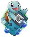 artist_request bubble creatures_(company) game_boy game_freak gen_1_pokemon handheld_game_console holding looking_at_viewer nintendo no_humans pixelated pokemon pokemon_(creature) pokemon_(game) pokemon_rgby red_eyes screen shell simple_background source_request squirtle white_background
