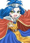 1girl belt big_hair blue_hair cape chrono_trigger commentary_request dress earrings flat_chest jewelry long_hair open_mouth queen_zeal s-a-murai smile solo younger