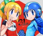 1boy 1girl android anniversary bangs blonde_hair blue_eyes blue_gloves blunt_bangs blush bow capcom commentary_request dated eyebrows_visible_through_hair gloves green_bow hair_bow hair_ornament hand_gesture helmet index_finger_raised long_hair ponytail rockman rockman_(character) rockman_(classic) rockman_11 roll ryuda_1 sidelocks smile