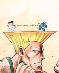 black_hair blonde_hair blue_eyes chibi fighting_stance firing flattop guile headband nintendo on_head rariatto_(ganguri) rockman rockman_(character) rockman_(classic) ryuu_(street_fighter) street_fighter super_scope super_smash_bros. super_smash_bros._ultimate x_x