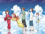 2boys 3girls :d animal_print asahina_mikuru bag bagged_fish blue_kimono blue_sky brown_hair butterfly_print candy_apple closed_eyes clouds fan fish floral_print food goldfish green_sweatshirt guitaro_(yabasaki_taro) hairband hand_on_hip hand_up holding holding_fan japanese_clothes kimono koizumi_itsuki kyon long_hair multiple_boys multiple_girls nagato_yuki obi open_mouth outdoors paper_fan reflection sandals sash shirt short_hair shorts sky smile standing suzumiya_haruhi suzumiya_haruhi_no_yuuutsu sweatshirt tripping white_shirt wide_sleeves yellow_hairband yellow_kimono yukata