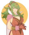 1girl breasts cape chiki choker cleavage dress fire_emblem fire_emblem:_kakusei fire_emblem:_monshou_no_nazo fire_emblem_heroes gloves green_eyes green_hair highres jivke large_breasts lips long_hair looking_at_viewer mamkute nintendo parted_lips pink_dress pointy_ears ponytail red_dress red_gloves shiny shiny_skin short_dress side_slit sidelocks signature simple_background smile solo tiara
