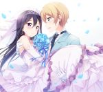 2boys black_hair black_neckwear blonde_hair blue_flower blue_ribbon blue_rose blue_suit blush bouquet bridal_veil carrying collared_shirt crossdressing dress earrings elbow_gloves eugeo flower formal frilled_dress frills gloves green_eyes hair_between_eyes hazuki_(sutasuta) highres holding holding_bouquet husband_and_husband jewelry kirito kirito_(sao-ggo) long_hair looking_at_another male_focus multiple_boys necklace necktie petals princess_carry ribbon rose shirt smile striped striped_ribbon suit sword_art_online tiara trap veil violet_eyes wedding wedding_dress white_gloves yaoi