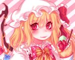 1girl :p bangs blonde_hair blush bow bowtie commentary crepe crystal diagonal-striped_background diagonal_stripes eyebrows_visible_through_hair flandre_scarlet food frilled_bow frilled_ribbon frilled_shirt_collar frills fruit hair_between_eyes hat hat_ribbon long_hair looking_at_viewer macaron mob_cap one_side_up pink_background pink_bow pink_neckwear pink_outline plaid plaid_bow pocky pointy_ears portrait puffy_short_sleeves puffy_sleeves red_eyes red_ribbon red_vest ribbon shan shirt short_sleeves smile solo sprinkles strawberry striped striped_background striped_bow symbol_commentary tongue tongue_out touhou vest white_background white_hat white_shirt wings yellow_bow yellow_neckwear