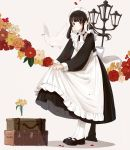 1girl absurdres animal apron bangs bird black_dress black_footwear black_hair blush brown_eyes dove dress dress_lift floating_hair flower frilled_apron frills full_body grey_background hair_ribbon highres lamppost long_dress long_hair long_sleeves looking_at_viewer low_twintails luggage maid maid_apron maid_headdress mary_janes orange_flower original parted_lips petals ponytail puffy_sleeves red_flower ribbon rose shadow shii_(kairi-t-k0317) shoes sidelocks solo standing suitcase tareme twintails victorian_maid white_apron white_flower white_legwear white_ribbon