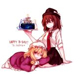 2girls arm_support bangs black_hat black_skirt blonde_hair blush bow breasts brown_eyes brown_hair cake commentary_request dress eyebrows_visible_through_hair fedora food hair_between_eyes hair_bow happy_birthday hat hat_bow head_tilt heart holding holding_food lying maribel_hearn medium_breasts miniskirt mob_cap multiple_girls necktie on_stomach one_eye_closed pantyhose parted_lips petticoat pleated_skirt purple_dress rabbit red_neckwear shadow shan shirt short_hair short_sleeves simple_background sitting skirt thighs touhou usami_renko violet_eyes wariza white_background white_bow white_hat white_legwear white_shirt wing_collar