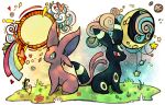 abstract_background back-to-back commentary crayonchewer creature creatures_(company) crescent_moon day_and_night english_commentary espeon flower full_body full_moon game_freak gen_2_pokemon grass moon nintendo no_humans pokemon pokemon_(creature) sitting sun umbreon
