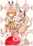 2 2girls animal_ears arm_up belt blonde_hair blush boot_bow boots bow bowtie caracal_(kemono_friends) caracal_ears caracal_tail checkered checkered_background cross-laced_clothes elbow_gloves extra_ears eyebrows_visible_through_hair gloves high-waist_skirt highres kemono_friends kolshica leg_up long_hair looking_at_another multiple_girls print_gloves print_legwear print_neckwear print_skirt serval_(kemono_friends) serval_ears serval_print shirt sitting skirt sleeveless sleeveless_shirt smile thigh-highs yellow_eyes yellow_gloves yellow_legwear yellow_neckwear yellow_skirt