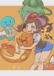 /\/\/\ 1girl artist_name ayumi_(pokemon) bangs baseball_cap black_blouse blouse blue_shorts blush_stickers brown_eyes brown_hair bulbasaur charmander commentary creatures_(company) fang fire game_freak gen_1_pokemon hat highres holding holding_pokemon leaning_forward legs letterboxed long_hair magikarp nintendo open_mouth orange_background out_of_frame pikachu pokemon pokemon_(creature) pokemon_(game) pokemon_lgpe ponytail red_hat short_shorts shorts smile squirtle standing sweatdrop ueda_kou white_pupils