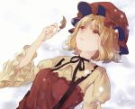 1girl aki_minoriko arm_up black_neckwear blonde_hair dated dress expressionless eyebrows_visible_through_hair eyes_visible_through_hair hat holding holding_leaf juliet_sleeves layered_dress leaf long_sleeves looking_up lying m_(neteitai10) mob_cap neck_ribbon on_back on_ground puffy_sleeves red_eyes ribbon short_hair sketch snow snowing solo suspenders touhou upper_body