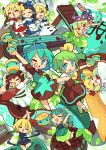 6+girls ;d ^_^ alternate_color arms_up chen chibi chocolate chocolate_bar cirno closed_eyes closed_eyes clownpiece daiyousei double_scoop eternity_larva fairy food full_body happy highres ice_cream ice_cream_cone ice_cream_sandwich lily_white looking_at_viewer luna_child mint moyazou_(kitaguni_moyashi_seizoujo) multiple_girls one_eye_closed open_mouth rumia smile star_sapphire sunny_milk touhou