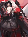 1girl arm_up armor armored_dress bangs black_dress breasts cape chains commentary_request dress eyebrows_visible_through_hair fate/grand_order fate_(series) flag fur-trimmed_cape fur_collar fur_trim gauntlets grin headpiece highres holding holding_flag holding_weapon hoshi_rasuku jeanne_d'arc_(alter)_(fate) jeanne_d'arc_(fate)_(all) large_breasts looking_at_viewer red_background short_hair silver_hair smile weapon yellow_eyes