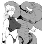 1girl 2019 bare_shoulders breasts dated highleg highleg_panties large_breasts metroid midriff monochrome navel nintendo panties ponytail power_armor power_suit samus_aran thong tsukudani_(coke-buta) underwear varia_suit