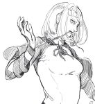 1girl breasts commentary_request drag-on_dragoon drag-on_dragoon_2 manah monochrome short_hair solo