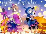 2girls bangs barefoot bat_wings black_legwear blush boots bow brown_eyes brown_hair closed_mouth commentary crescent dress flats garters girls_und_panzer grey_background grey_hair hair_down halloween_costume happy_birthday hat highres holding holding_staff holding_stuffed_animal holding_weapon jack-o'-lantern kneehighs light_brown_eyes long_hair looking_at_viewer medium_dress multiple_girls namatyoco nishizumi_miho off-shoulder_dress off_shoulder oversized_object panzerfaust puffy_short_sleeves puffy_sleeves purple_bow purple_dress purple_hat purple_ribbon red_footwear ribbon shimada_arisu short_hair short_sleeves sitting smile staff star striped striped_legwear stuffed_animal stuffed_toy teddy_bear twitter_username weapon wings witch_costume witch_hat