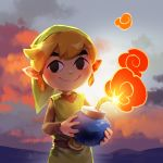 bangs belt_buckle blonde_hair bomb buckle dusk hat link niko_geyer nintendo pointy_ears smoke the_legend_of_zelda the_legend_of_zelda:_the_wind_waker tunic