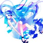 1girl :o arm_at_side bare_arms bare_legs bare_shoulders blue blue_eyes blue_sky clouds cloudy_sky crying crying_with_eyes_open day dress dress_lift expressionless fish floating floating_hair full_body hand_on_own_cheek hatsune_miku long_hair looking_away rainbow sandals simple_background sky sleeveless sleeveless_dress solo tears twintails very_long_hair vocaloid white_background white_dress wind wind_lift