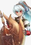 1girl android blue_hair blush cable charge_blade highres labrys monster_hunter persona persona_4:_the_ultimate_in_mayonaka_arena ponytail red_eyes school_uniform shield sowel_(sk3) sword trait_connection weapon