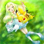 1girl absurdres alolan_vulpix blonde_hair creatures_(company) dress game_freak gen_1_pokemon highres lillie_(pokemon) lying_on_grass nap nintendo pikachu pokemon pokemon_(anime) pokemon_(creature) pokemon_sm_(anime) white_dress