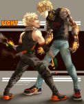 2boys absurdres angry bakugou_katsuki black_sclera blonde_hair boku_no_hero_academia clenched_teeth commentary crossover curly_hair cyborg english_commentary fighting_stance fire freckles genos gloves highres insertsomthinawesome male_focus mechanical_arm multiple_boys one-punch_man prosthesis red_eyes short_hair smile spiky_hair teeth yellow_eyes