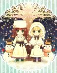 2girls blonde_hair brown_hair building cardia_beckford character_request closed_mouth coat code:realize commentary_request english_text eyebrows_visible_through_hair green_eyes happy_new_year hat highres hoshi_no_pon long_hair mittens multiple_girls new_year night number smile snow snowing snowman sparkle standing
