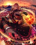 1girl 2012 bag belt belt_pouch black_capelet black_footwear black_gloves blackskirt blue_eyes boots breasts capelet cityscape dress flower gloves hair_ornament handbag headband kyousin long_hair looking_at_viewer lord_of_knights medium_breasts official_art open_mouth orange_sky orb outdoors petals potion pouch red_headband rooftop sky smile solo standing sunset twilight watermark