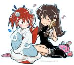 1boy 1girl ^_^ black_dress blue_(pokemon) blush breasts brown_hair closed_eyes closed_eyes closed_mouth cosplay creatures_(company) crossdressing dress froslass froslass_(cosplay) game_freak gen_1_pokemon gen_4_pokemon grey_eyes hair_brush hairdressing holding_brush jigglypuff kibisakura long_hair looking_at_another medium_breasts nintendo pokemon pokemon_special redhead short_dress silver_(pokemon) simple_background sleeves_past_wrists smile tied_hair white_background