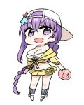 1girl :d backwards_hat bangs baseball_cap bb_(fate)_(all) bb_(fate/extra_ccc) bb_(swimsuit_mooncancer)_(fate) braid breasts chan_co character_name chibi cleavage commentary eyebrows_visible_through_hair fate/grand_order fate_(series) full_body hair_ornament hat holding jacket large_breasts long_hair looking_at_viewer midriff navel off_shoulder open_mouth purple_hair shoes simple_background single_braid skirt smile socks solo star star_hair_ornament very_long_hair violet_eyes white_background white_hat yellow_jacket yellow_skirt