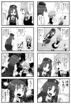 4koma 8koma black_border border comic flandre_scarlet fujiwara_no_mokou greyscale hat hong_meiling imp izayoi_sakuya jetto_komusou kawashiro_nitori koakuma monochrome patchouli_knowledge touhou translation_request