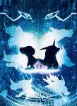 agumon blue creature digimon gabumon garurumon greymon harada_miyuki highres horn metalgarurumon metalgreymon monochrome no_humans omegamon silhouette wargreymon weregarurumon