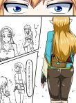1boy 1girl annoyed ass blonde_hair blue_eyes boots braid brown_pants chin_stroking close-up comic commentary_request covering covering_ass crown_braid directional_arrow embarrassed eyes fingerless_gloves gloves hand_on_own_chin highres link long_hair long_sleeves looking_at_another nintendo pants pointy_ears pouch princess_zelda sheath shirt sound_effects standing staring suzusiigasuki the_legend_of_zelda the_legend_of_zelda:_breath_of_the_wild thinking translation_request walking