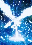 blue digimon feathered_wings feathers harada_miyuki highres holding holding_sword holding_weapon monochrome no_humans omegamon silhouette solo sword weapon wings