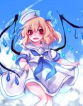 1girl :d alternate_costume alternate_headwear anchor_symbol bangs blonde_hair blue_neckwear blue_ribbon blue_sky blush commentary_request crystal day eyebrows_visible_through_hair fang feet_out_of_frame flandre_scarlet hair_between_eyes hair_ribbon hat korean_commentary neckerchief one_side_up open_mouth outdoors red_eyes ribbon sailor_collar sailor_hat sailor_shirt shan shirt short_hair skirt skirt_hold sky smile solo thighs touhou white_hat white_sailor_collar white_shirt white_skirt wings