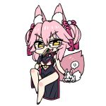 1girl :d animal_ear_fluff animal_ears black_dress chan_co chibi commentary_request dress eyebrows_visible_through_hair fang fate/grand_order fate_(series) fox_ears fox_tail full_body glasses grin hair_ribbon invisible_chair koyanskaya looking_at_viewer open_mouth pelvic_curtain pink_footwear pink_hair pink_ribbon ribbon semi-rimless_eyewear shoes sitting smile solo tail tassel twintails under-rim_eyewear yellow_eyes