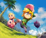 aryll bangs belt_buckle blonde_hair buckle hat link niko_geyer nintendo palm_tree pig pointy_ears riding running short_twintails the_legend_of_zelda the_legend_of_zelda:_the_wind_waker toon_link tree tunic twintails