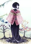 1girl artist_name bare_tree black_dress black_eyes black_hair buttons cape dated dress flag full_body grass jewelry looking_to_the_side necklace original outdoors pink_cape shirono_hato short_hair standing string_of_flags tree white_background white_sky