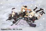 3girls ammo_box ammunition ammunition_belt binoculars boots c96_(girls_frontline) girls_frontline gloves gun hat machine_gun mg34 mg34_(girls_frontline) military military_hat military_uniform mp40_(girls_frontline) multiple_girls rocoman_(kjh48001) shell_casing snow snowing uniform weapon wehrmacht world_war_ii