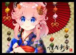 1girl animal_ears bangs black_border blue_eyes blue_kimono blush border checkered checkered_background chinese_zodiac closed_mouth commentary_request eyebrows_visible_through_hair fingernails flower hair_between_eyes hands_up holding holding_umbrella japanese_clothes kimono long_hair looking_at_viewer nail_polish nengajou new_year oriental_umbrella original pig_ears pink_hair print_kimono red_nails red_umbrella smile solo thick_eyebrows tsukimochikuriko_(tsukimochi_k) umbrella year_of_the_pig