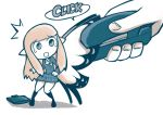 1girl aerie_(bravely_default) bag bravely_default:_flying_fairy bravely_default_(series) commentary english_commentary fairy holding limited_palette long_hair school_bag school_uniform setz speech_bubble stapler tears white_background