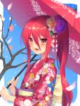 1girl :d back_bow bangs bare_tree blue_background blush bow commentary_request floating_hair flower from_side hair_between_eyes hair_flower hair_ornament high_ponytail highres holding holding_umbrella japanese_clothes kimono long_hair long_sleeves looking_at_viewer looking_to_the_side obi ohlia open_mouth orange_eyes orange_flower oriental_umbrella petals pink_kimono print_kimono purple_flower redhead sash shakugan_no_shana shana sidelocks smile solo tree umbrella upper_body white_bow wide_sleeves