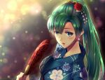 1girl blue_kimono blush collarbone earrings fan festival fire_emblem fire_emblem:_rekka_no_ken fire_emblem_heroes fireworks floral_print flower green_eyes green_hair hair_flower hair_ornament high_ponytail holding holding_fan intelligent_systems japanese_clothes jewelry kazame kimono long_hair lyndis_(fire_emblem) night nintendo open_mouth paper_fan ponytail print_kimono solo super_smash_bros. taiga_kazame