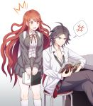1boy 1girl annoyed azami194 backpack bag bangs black_eyes blush book breasts brown_hair chair commentary_request danganronpa danganronpa/zero eyebrows_visible_through_hair feet_out_of_frame grey_jacket grey_legwear grey_skirt highres holding holding_book jacket large_breasts long_hair looking_at_another matsuda_yasuke miniskirt necktie notebook open_mouth otonashi_ryouko parted_bangs pencil reading red_eyes red_neckwear red_ribbon redhead ribbon short_hair simple_background sitting skirt socks very_long_hair white_legwear