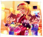 1girl 2boys aile bangs blonde_hair blue_kimono bracelet brown_hair candy_apple child clacker closed_eyes facial_mark food forehead_mark girouette glasses high_ponytail japanese_clothes jewelry kimono kon_(kin219) long_hair mask mask_on_head multiple_boys open_mouth red_kimono rockman rockman_zx short_hair smile takoyaki vent yukata