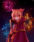 1girl bangs belt black_belt blonde_hair blouse blush bracelet cape commentary_request cowboy_shot earmuffs fireworks hair_between_eyes high_collar holding jewelry looking_at_viewer night night_sky outdoors pink_blouse purple_cape purple_skirt ritual_baton shan short_hair skirt sky smile solo standing touhou toyosatomimi_no_miko yellow_eyes
