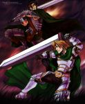 2boys ajrpg armor bandage battle berserk black_armor black_hair blonde_hair brand_of_sacrifice cape crossover cuts dragonslayer_(sword) evil_grin evil_smile fighting frown gauntlets gloves grin guts holding holding_sword holding_weapon huge_weapon injury long_hair male_focus manly multiple_boys scar short_hair siegfried_schtauffen smile soul_calibur sword weapon